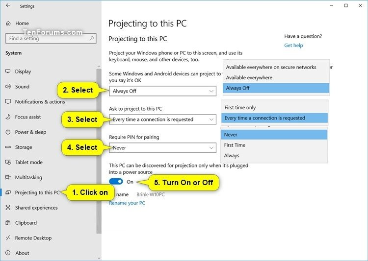 Turn On or Off Projecting to this PC in Windows 10 | Tutorials