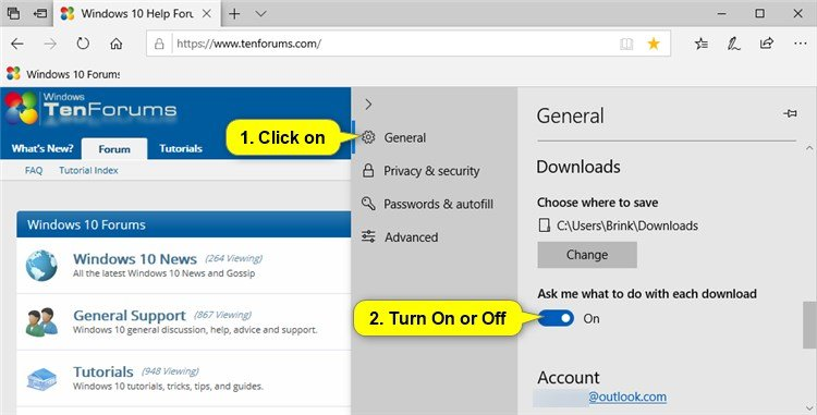 Turn On or Off Download Save Prompt in Microsoft Edge