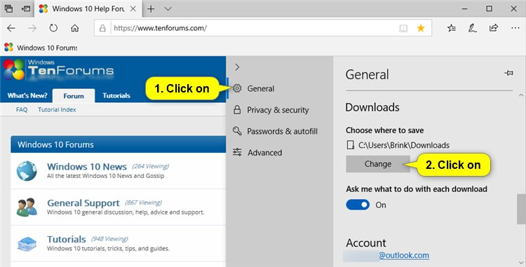 how to change the default download location in windows 10