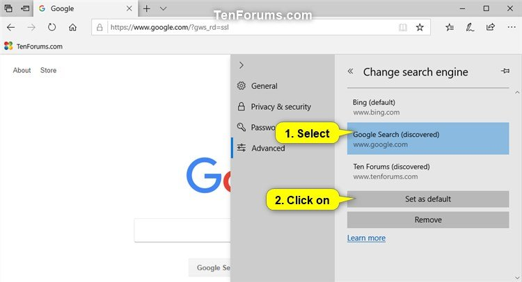 Change Default Search Engine in Microsoft Edge in Windows 10