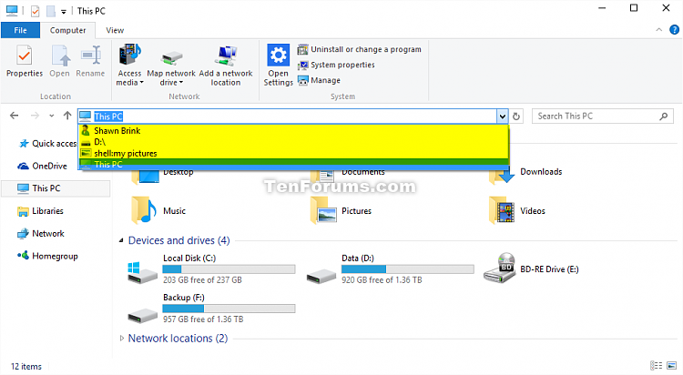 Clear File Explorer and Run Dialog Box History in Windows 10-file_explorer_typed_address_bar_history.png