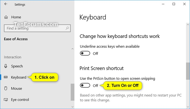 Turn On Use Print Screen Key to Launch Screen Snipping in