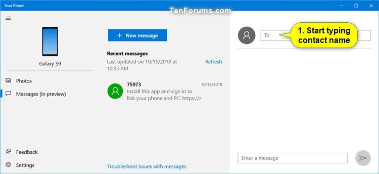 Send Text Messages from Android Phone in Your Phone app on Windows 10-your_phone_app_send_text_message-2.jpg