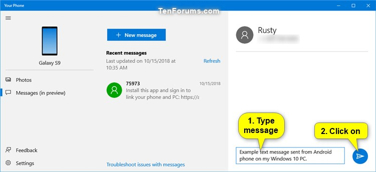 Send Text Messages from Android Phone in Your Phone app on Windows 10-your_phone_app_send_text_message-4.jpg