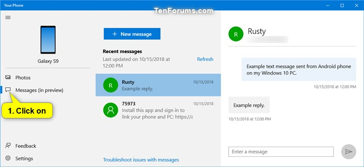 View Text Messages from Android Phone in Your Phone app on Windows 10-your_phone_messages-1.jpg