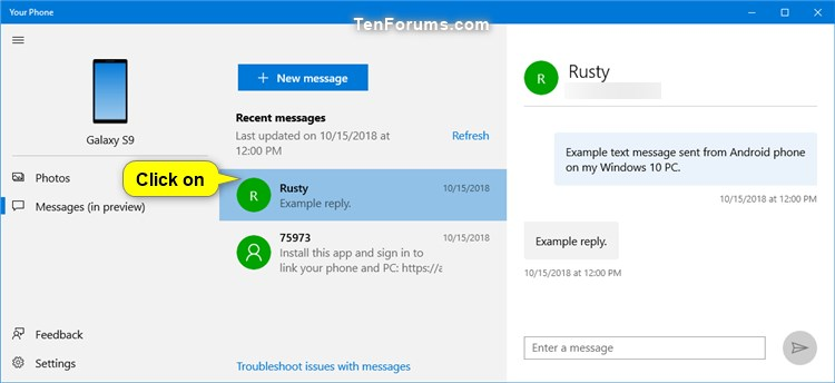 View Text Messages from Android Phone in Your Phone app on Windows 10-your_phone_messages-3.jpg
