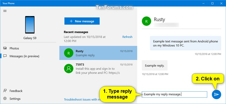 View Text Messages from Android Phone in Your Phone app on Windows 10-your_phone_messages-4.jpg