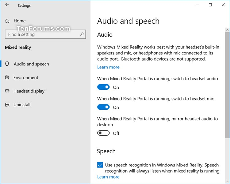 Add or Remove Mixed Reality page from Settings in Windows 10-mixed-reality_audio_and_speech-settings.jpg