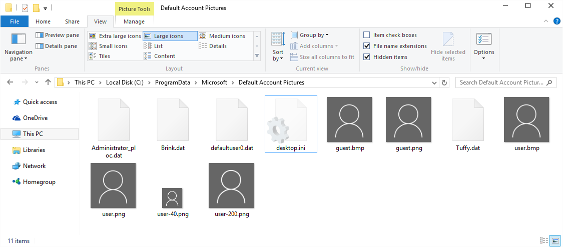 how to make large icons default windows 10