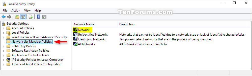 windows network list manager policies