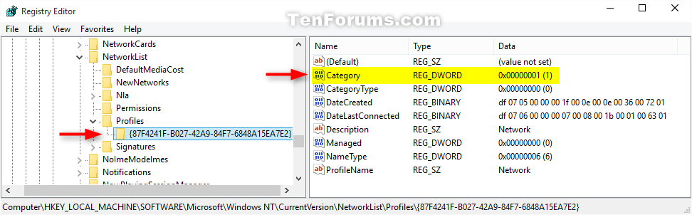 ip address windows 10 registry