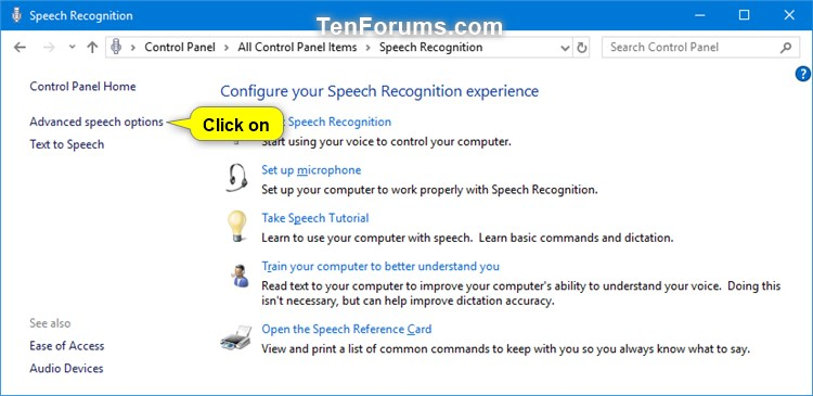 Enable or Disable Speech Recognition Voice Activation in