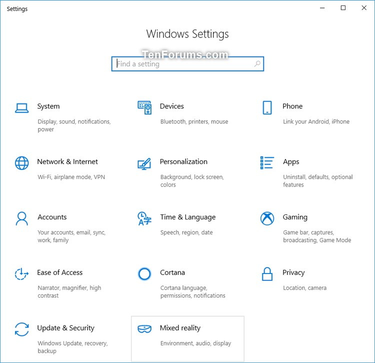 Set Up Windows Mixed Reality Headset in Windows 10-windows_settings_mixed_reality.jpg