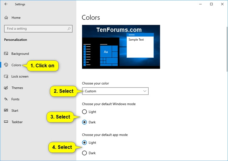 Change Default App & Windows Mode to Light or Dark Theme in Windows 10-custom_default_app_windows_mode.jpg