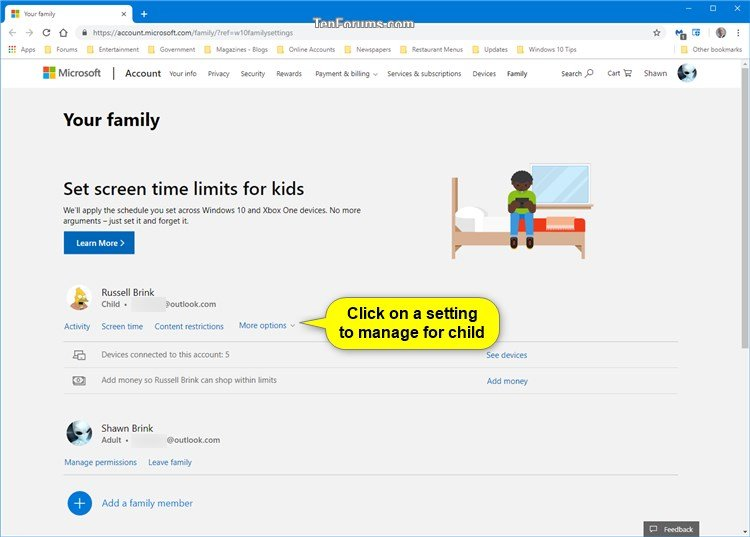 Manage Microsoft Family Settings for Child in Windows 10