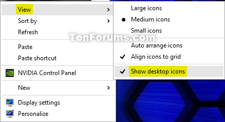 Hide or Show Desktop Icons in Windows 10 | Tutorials