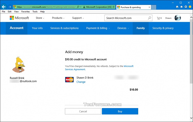Add Money to Account of Microsoft Family Child for Microsoft Store