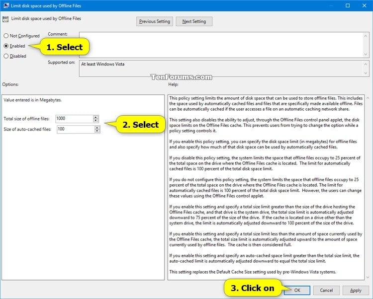 Change Offline Files Disk Usage Limits in Windows | Tutorials