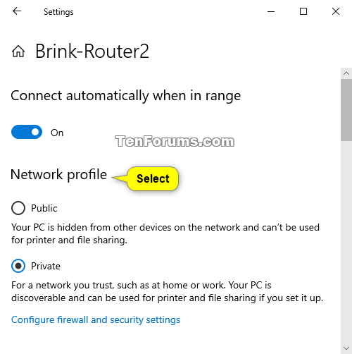 change windows 10 to private network