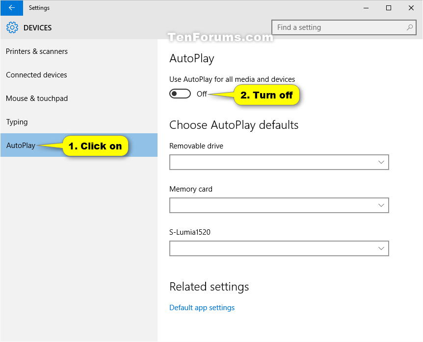 Turn On or Off AutoPlay in Windows 10 | Tutorials