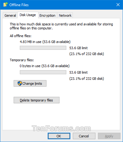 Add Sync Center Context Menu in Windows-offline_files-disk_usage_tab.png