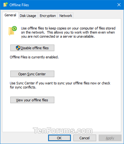 Add Sync Center Context Menu in Windows-offline_files-general_tab.png