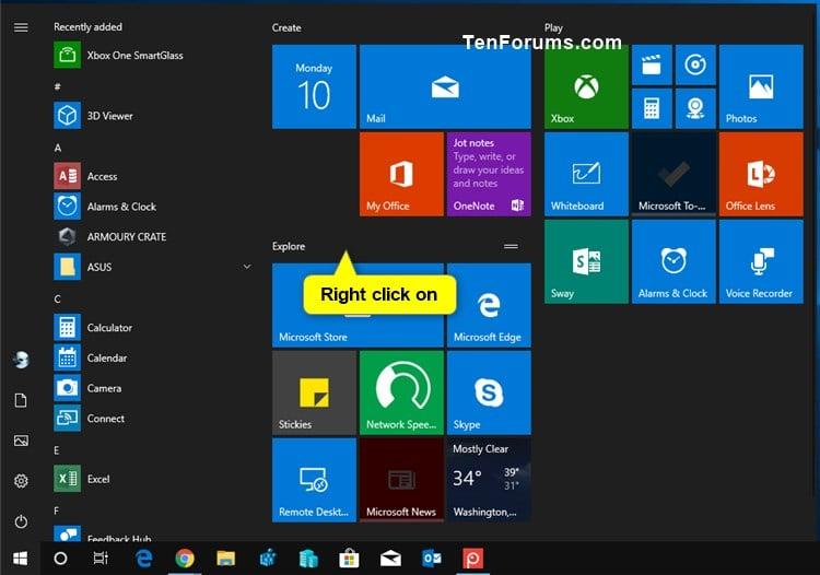Tiles On Start In Windows 10