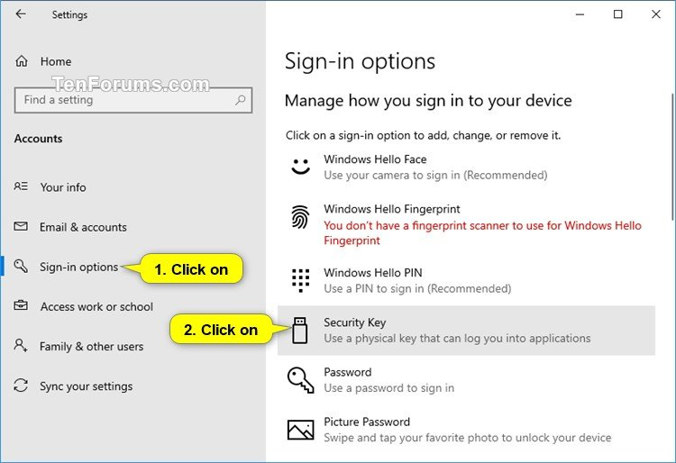 Set Up Security Key to Log into Apps in Windows 10 | Tutorials