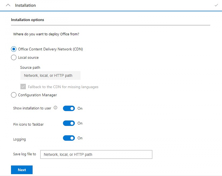 Custom install or change Microsoft Office with Office Deployment