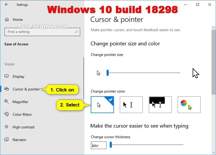 Change Mouse Pointers and Change Pointer Color and Size in Windows 10 |  Tutorials