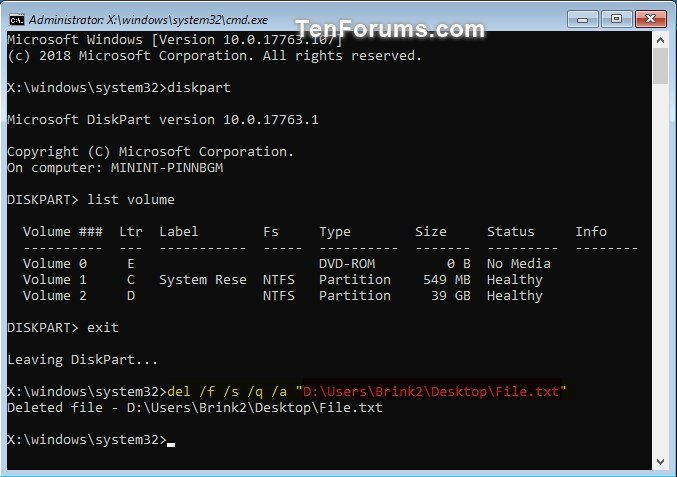 how to use command prompt to delete a file