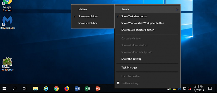 Hide or Show Search Box or Search Icon on Taskbar in Windows 10-win10pic.png