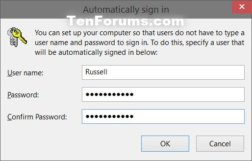 Sign in User Account Automatically at Windows 10 Startup | Tutorials