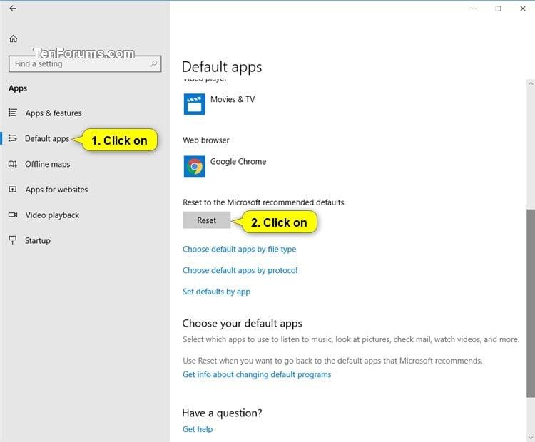 Choose Default Apps in Windows 10 | Tutorials