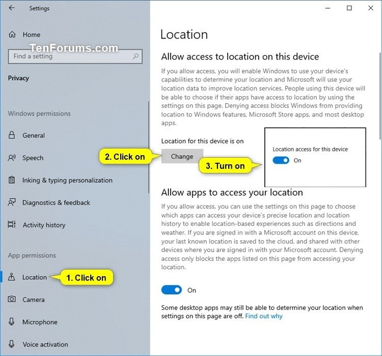 Turn On or Off Location Services in Windows 10 | Tutorials