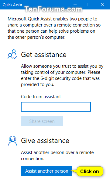 Get and Give Remote Assistance with Quick Assist app in Windows 10-w10_quick_assist_give_assistance-1.png