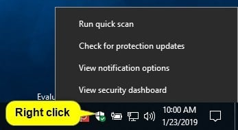 Hide or Show Windows Security Notification Area Icon in