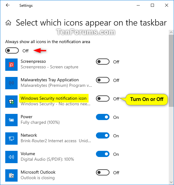 Hide or Show Windows Security Notification Area Icon in Windows 10