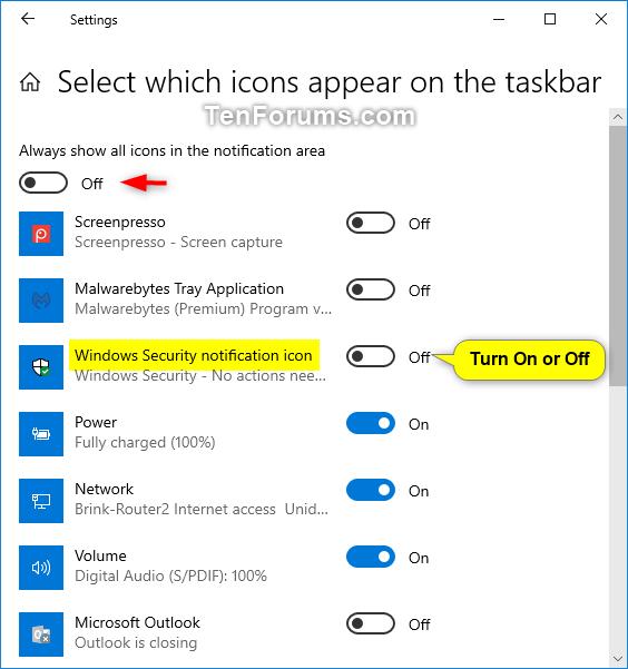 virus notification windows 10