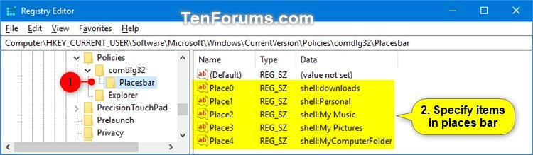 Change Places Bar Items in Common Dialog Box in Windows-common_dialog_box_places_bar_regedit-1.jpg