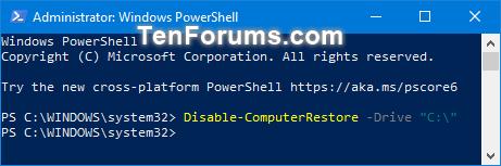 Turn On or Off System Protection for Drives in Windows 10-turn_off_system_protection_for_drives_in_powershell.png