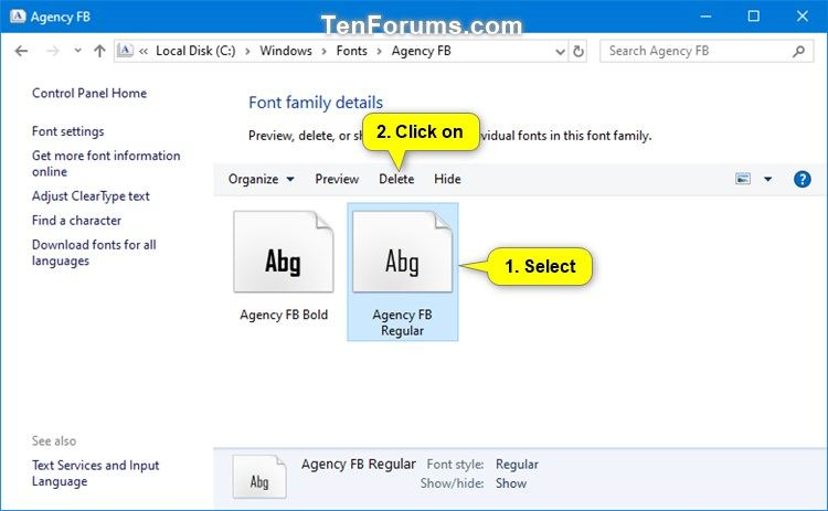 Delete and Uninstall Fonts in Windows 10 | Tutorials