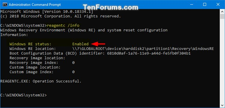Enable or Disable Windows Recovery Environment in Windows 10-windows_re_status-1.jpg