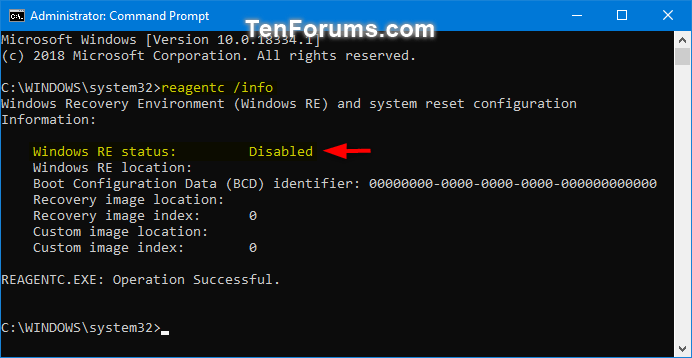 Enable or Disable Windows Recovery Environment in Windows 10-windows_re_status-2.png