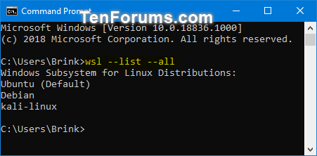 List All Windows Subsystem for Linux (WSL) Distros in