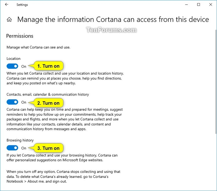 Turn On or Off Cortana Pick up where I left off in Windows