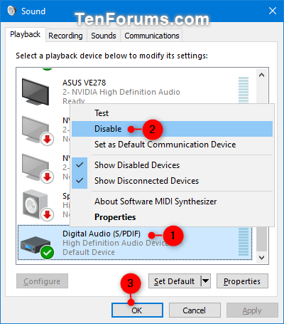 Enable Or Disable A Sound Output Device In Windows Tutorials