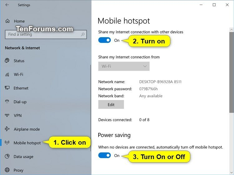 Enable or Disable Automatically Turn Off Mobile Hotspot in