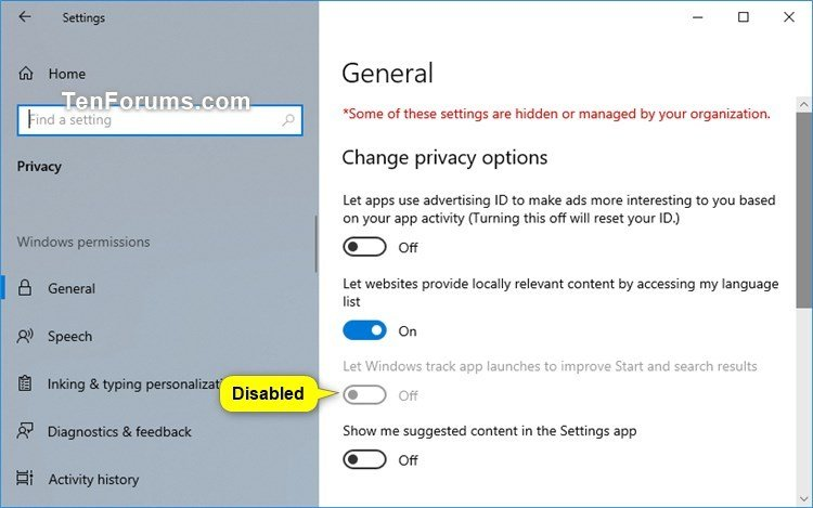 Enable or Disable App Launch Tracking in Windows 10 | Tutorials