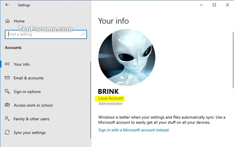 How to Tell if Local Account or Microsoft Account in Windows 10-local_account_settings.jpg